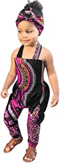 WUAI Rompers for Baby Girls,Kids African Dashiki Print Jumpsuits Long Rompers Baggy Harem Playsuit