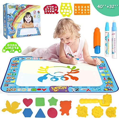 Smyidel Alfombrilla Aqua Magic Doodle, Alfombrilla Grande de Dibujo de Agua de 40X30 Pulgadas, Juguetes educativos y Regalos para niños pequeños, niños, niños, niñas Edad de 2 3 4 5 6 7 8 años