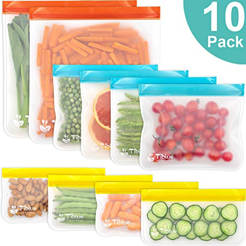 Reusable Food Storage Bags - 10 PCS BPA FREE Freezer Bags( 2 Gallon Bags + 4 Reusable Sandwich Bags + 4 Reusable Snack Bags) LEAKPROOF Reusable Lunch Ziplock Bags for Food Travel Make-up Home Organize
