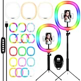 12' RGB Selfie Ring Light & Adjustable Tripod Stand with Cell Phone Holder for Live Stream/Make Up/YouTube/TikTok/Photography/Video Recording Compatible with iPhone & Android Phone-Medium