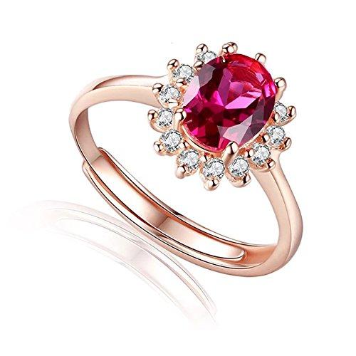 AIUIN Elegante anillo abierto de oro rosa rojo diamante anillo ajustable joyería de boda para mujeres (oro rosa) X 1 pieza