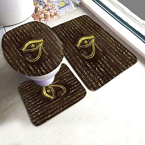 Golden Egyptian Eye of Horus Hieroglyphics Bath Mat 3 Piece Set Non-Slip Pedestal Rug+ U Shaped Contour Pads + Toilet Lid Cover