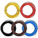 TIMESETL 5Stück KFZ Leitung 1,5 Fahrzeugleitung 1,5 mm² KFZ Kabel 5 Farben x 10m als Ring im Set, Nach DIN 72551