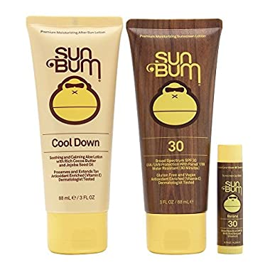 Sun Bum Premium Day Tripper Travel-Sized Sun Care Pack with Moisturizing Sunscreen Lotion, Sunscreen Lip Balm and Hydrating After Sun Lotion, Broad Spectrum UVA/UVB Protection, Hypoallergenic