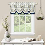 """Achim Home Furnishings Tuck Valance with Buttons Tattersall Window Curtain, 58"""" x 14"""", Navy"""