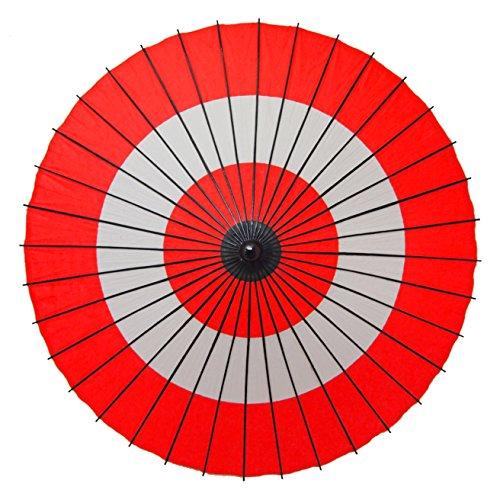 和傘 紙傘 1尺4寸 蛇の目柄 継柄 踊り傘 (朱色)