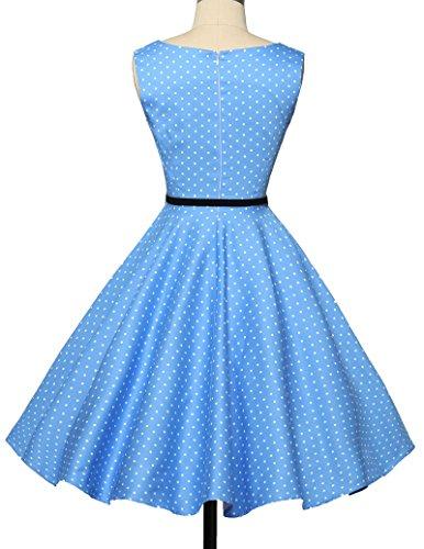 Damen rockabilly kleid 50s vintage sommerkleid polka dots audrey hepburn kleid cocktailkleider S - 2