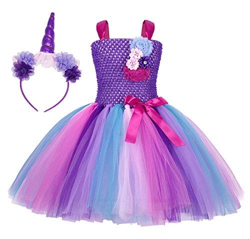WonderBabe Disfraz De Unicornio para Niñas Vestido De Tutú De Princesa De Color Arcoíris para Niños Cumpleaños Halloween para Ocasiones Temáticas Traje De 10 a 12 Años