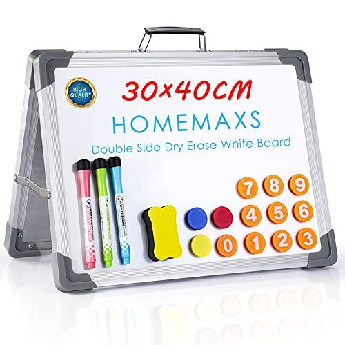 Homemaxs Whiteboard Magnetwand mit Alurahmen, 30 x 40 cm Tragbares Desktop Mini Whiteboard, Doppelseitiges Magnetisches Whiteboard, für Kinderzeichnung, Einkaufsliste für Küchen, Pinnwand