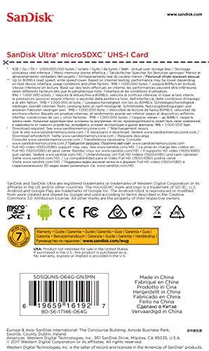 SanDisk Ultra 64GB Android microSDXC Speicherkarte bis zu 80MB/Sek, Class 10, SDSQUNS-064G-GN3MN, Grau, Weiß
