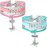 2 Pieces Horses Bracelet Handmade Leather Best Friends Bangle Love Horse Forever Charm Bracelet Gift for Pony Loving Girls with Gift Box (Blue Silver and Pink Silver)