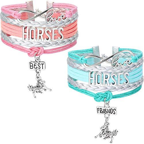 2 Piezas Pulseras de Joyas de Caballo Brazaletes de Cuero de Hecho a Mano Pulseras de Dijes de Love Horse Believe, Regalo para Poni Niñas de Amor con Cajas de Regalos (Plata Azul y Plata Rosa)