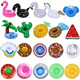 Inflatable Drink Holder 20 Pack Inflatable Drink Floats Cup Holders for Summer Pool Party, Variety Drink Floaties