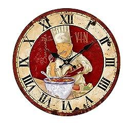 KiaoTime 13.5 inch Vintage Wall Clock Italian Cooking Chef Clock Non-Ticking Clock Kitchen Wood Wall Clock