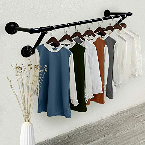 MZGH ISLAND Industrial Vintage Clothing Store Coat Rack,Wall Mount Pipe Shelves,Clothes Display Stand,Hanging Storage Garment Rack,Towel Rack (47 in)
