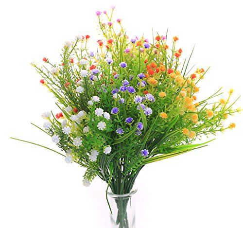 JAKY Global Artificial Flowers Gypsophila Babysbreath Fake Water Plants Bouquet 6 Bundle Fake Plants Wedding Bridle Bouquet Outdoor Home Office Christmas Decor(Mix Color)