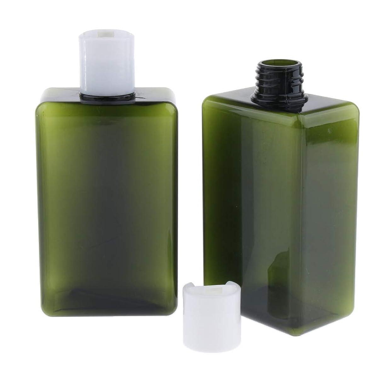 粗いのホスト正確なD DOLITY 2個 シャンプーボトル 乳液びん シャワージェル 小分け 詰め替え 300ミリ 化粧品容器 バス ホテル 旅行 - 緑