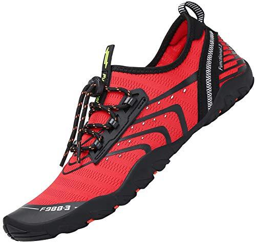 Tmaza Zapatos de Agua Hombre Secado Rápido Zapatos de Surf Mujer Respirable Antideslizante Escarpines Snorkel para Vela,Kayak,Buceo Rojo Manzana Caramelo 40 EU