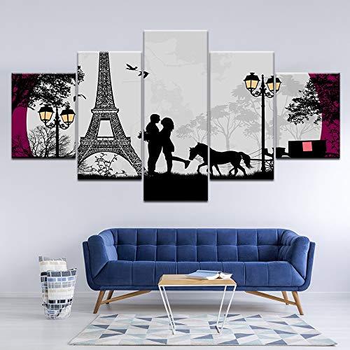 Print 5 schilderij HD poster foto's op het doek Lover onder de toren papieren Living room artist house decoration painting20x35 20x45 20x55cm No Frame