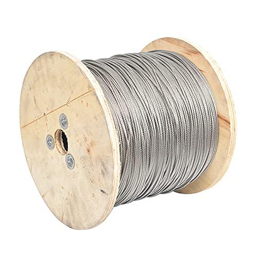 AIMIMI 304 rostfritt stål vajerrep 10 m 7 x 19 konstruktion vajerrep för räcke trall ljusslinga ljuskläder balustrad, 1,5 mm