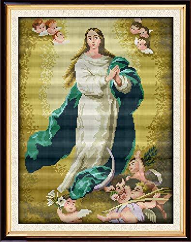 Kit de Punto de Cruz contado, Momenten Punto de cruz/Virgen maría / 34 x 44cm