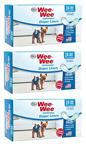 (3 Pack) Four Paws Wee-Wee Dog Diaper Garment Pads, 24 Per Pack