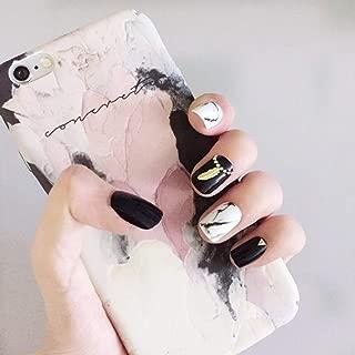 HeeJinn Fakes Nail Black and White Mixed Color False Nails Short 3D Fake Nails with Glue Artificial Nails for Women