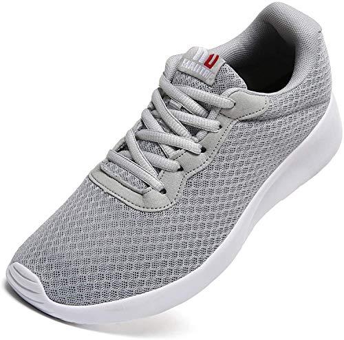 Maiitrip Herren-Sportschuhe, zum Laufen auf der Straße, Freizeitschuhe, Mesh, Sportsneaker für Fitnessstudio und Sport, Grau - grau, weiß - Größe: 44 EU