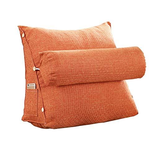 LXLIGHTS Hinterer Keil Kopfkissen Lordosenstütze, Dreieck Rückenlehne Haltungskorrektur, Erkerfenster Sofa Lesekissen, Waschbar, 11 Farben (Color : Orange, Size : 45 * 48 * 20cm)