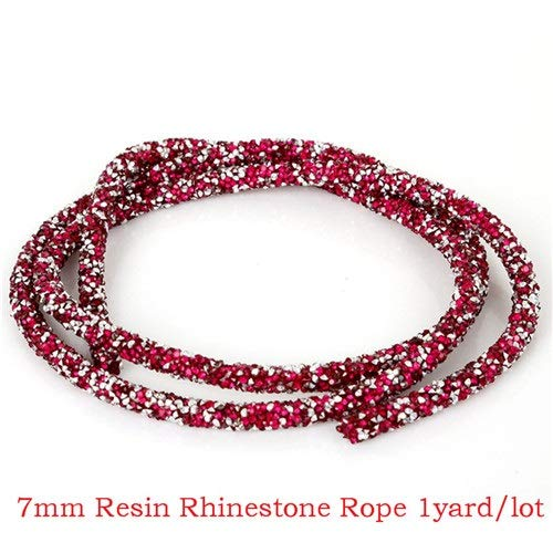 KUQIQI 1 Yard 10mm Sewing Trim Kristall Motiv glänzende Harzrhinestone-Band-Applikator-BandAppliques Kleider Kleidung (Farbe : RH Rope Red)