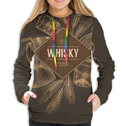 Der Hoodie der Frauen Vektor-Whisky-Produktions-Schablone, Flieger, Konzept. Vintage Hand gezeichnete Elemente, L Sweatshirt