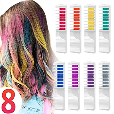 Hair Chalk Comb Temporary Hair Dye Hair Color Brush Glitter Paint for Adults Kids Children, Boys and Girls Perfect Ideal Halloween Set