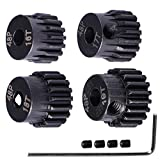 48P Hardened Steel Upgrade Pinion Gear Set: 16T 17T 18T 19T fit 3.175mm (1/8-Inch) RC Motor Shaft (Work with Steel Spur Gear) for RC Cars, Set of 4