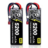MOOCK 7.4V Lipo Battery 2S 60C 5200mAh Lipos Hard Case with Deans T Plug for RC Car RC Truck Truggy Buggy RC Airplane UAV Drone FPV 1/8 1/10 RC Vehicle(2 Pack)