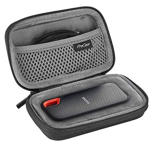 ProCase Estuche de Viaje para SanDisk Extreme 250GB/ 500GB/ 1TB/ 2TB SSD Portable SSD, Funda Rígida Antigolpes para Disco Duro Externo Unidad Estado Sólido Portátil -Negro