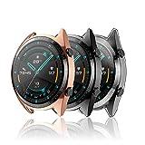 Hianjoo 3 Piezas Funda Compatible con Huawei Watch GT 2 46mm, Suave Cubierta TPU Silicona Goma con...
