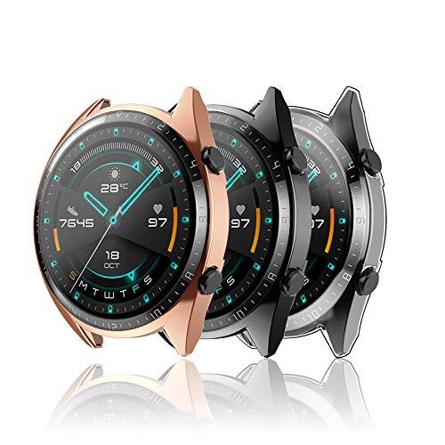 Hianjoo 3 Piezas Funda Compatible con Huawei Watch GT 2 46mm, Suave Cubierta TPU Silicona Goma con Completo Protector Pantalla Carcasa Marco Resistente Rasguños Protectora,Negro, Oro Rosa,Tran