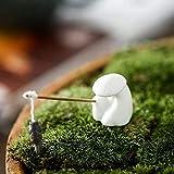JJDSN Hombre de Pesca Paisaje decoración del hogar Regalos para estantería Oficina café, pecera Acuario estatuas artesanías, pequeñas Figuras de cerámica esmaltadas Adornos