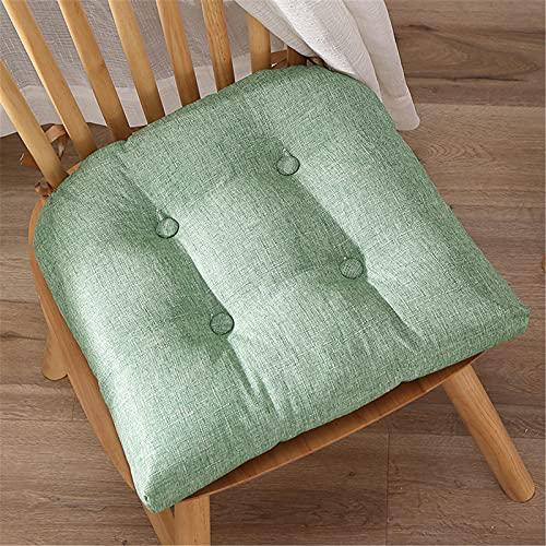 Chickwin Cojines para Silla con Correas de Sujeción, Color Sólido Cojín Decorativo de Asiento Cojines Acolchados de sillas para Terraza Jardín Sala Balcón (Verde,40x40cm)