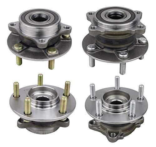 Bodeman - All 4 Front and Rear Replacement Wheel Bearing and Hub Assemblies for 2008 2009 2010 2011 2012 2013 2014 2015 Mitsubishi Lancer AWD (Including Evo Models)