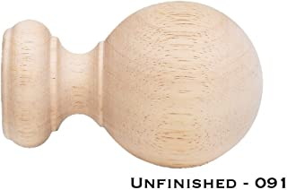 Finial Wood Ball Unfnshd 1-3/8
