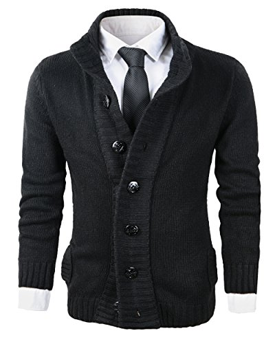 Beninos Men's Button Point Stand Collar Knitted Slim Fit Cardigan Sweater (CYMY Black,L)