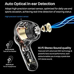 TOZO NC2 Hybrid Active Noise Cancelling Wireless Earbuds, ANC in-Ear Detection Headphones, IPX6 Waterproof Bluetooth 5.2 Stereo Earphones, Immersive Sound Premium Deep Bass Headset, Black