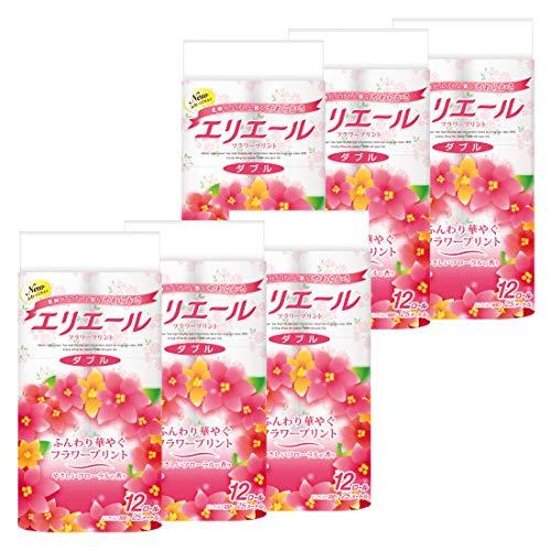 スマートマットライト エリエール トイレットペーパー フラワープリント 25m×72ロール(12ロール×6パック) ダブル パルプ100% 優雅な花の香り 【ケース販売】