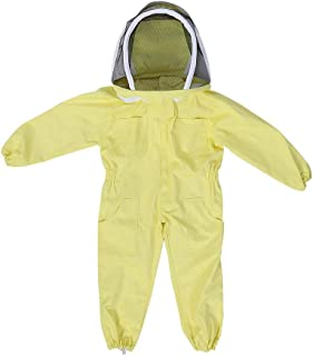 TOPINCN Professional Child Beekeeping Protective Yellow Cotton Suit Bee Farm Visitor Space Suit Anti-Bee Equipment Jumpsuit (L)