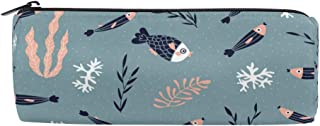 ATONO Underwater Fish Algae and Corals Childish Design Round Drum Pencil Pen Bag Marker Metal Zippers Pouch Holders Stationery Cases Canvas Storage Box 8x3x3 Inch for Studens, Boys&Girls