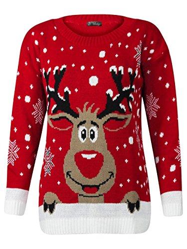 Generic Kinder-Strickpullover, Weihnachtsmotiv: Rudolph Gr. 3-4 Jahre (Rot, 6 Jahre)
