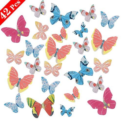 NATEE 42 PCS Farfalla di Carta di Riso Appiccicoso, Farfalla Commestibile Decorazione Torta Decorazione Creativa per Piatti e Pasticcini