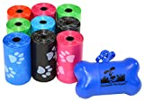 180 Pet Waste Bags, Dog Waste Bags, Bulk Poop Bags with Leash Clip and Bone Bag Dispenser - (180 Bags, Rainbow with Paw Prints)