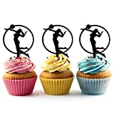 Beach Volleyball Silhouette Acrylic Cupcake Toppers 12 pcs